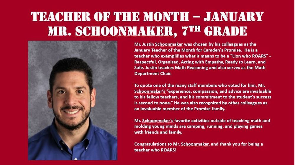 Congratulations to Mr. Schoonmaker