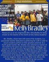 Teacher of the Month for December 2019 at Katz Dalsey Academy!