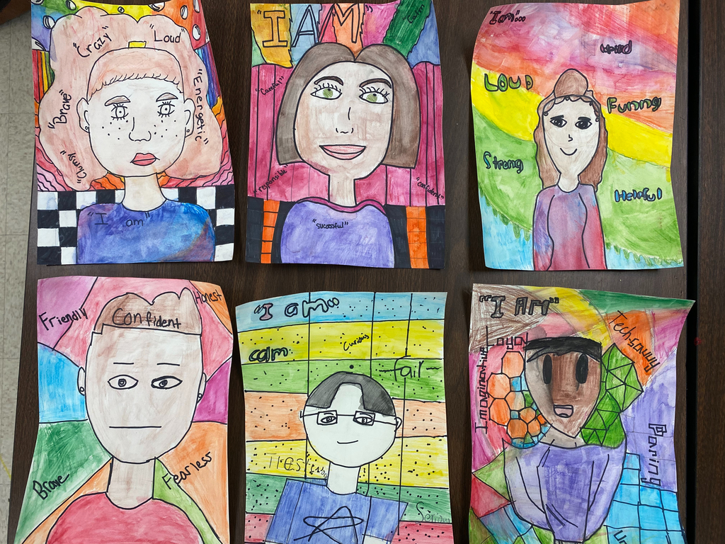 "5th grade: ""I AM"" Self Portraits"