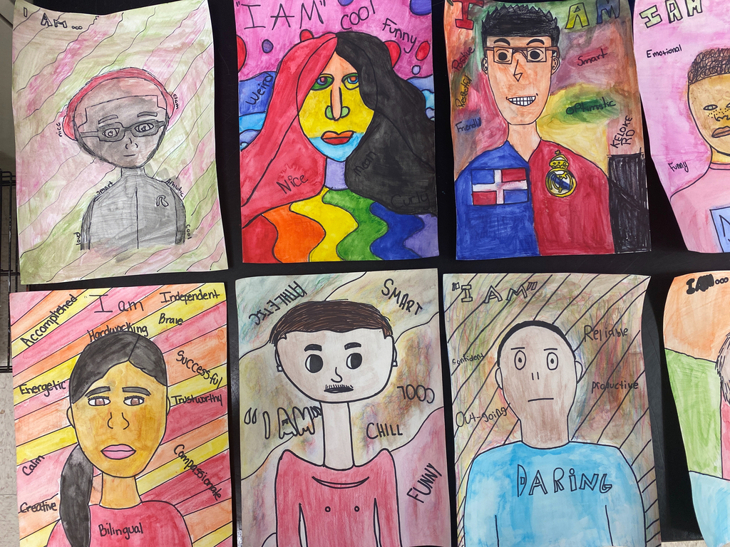 "7th grade ""I AM"" Self Portraits"
