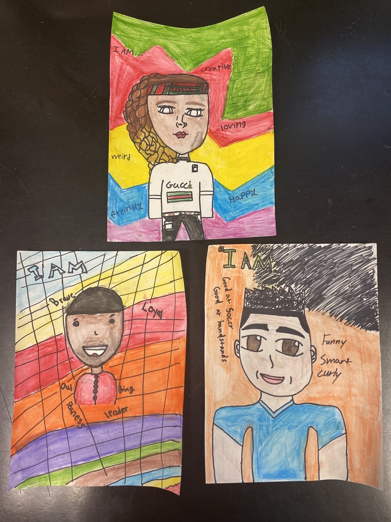 """I AM"" Self Portraits, by: Yenesis Capellan (top); Justin Robinson (bottom left); Luis Dominguez (bottom right)"