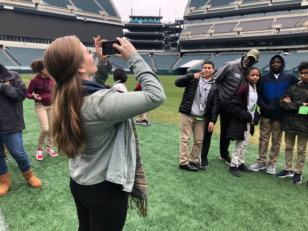 On the sidelines of the 6th grade field trip to Lincoln Financial Field