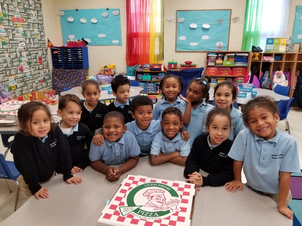 K-1 won a pizza party for collecting the most cans for Pride's Canned Food Drive!